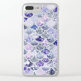 Purple and Ultra Violet Trendy Glitter Mermaid Scales Clear iPhone Case
