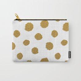 Golden touch III - Gold glitter effect polka dot pattern Carry-All Pouch