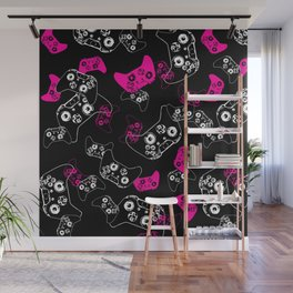 Video Game Pink on Black Wall Mural