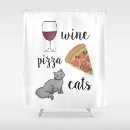 Wine Pizza Cats Shower Curtain