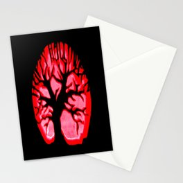 Happy halloweeN. Brain Tree Red Stationery Cards