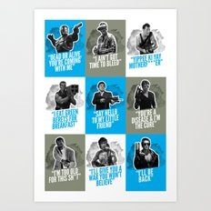 Badass 80's Action Movie Quotes Art Print