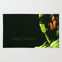 green lantern Area & Throw Rugs featuring The Green Lantern by Chad Madden