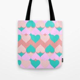 Multi Hearts Pink Teal Dogwood Tote Bag