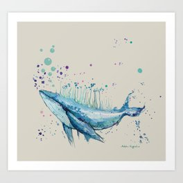 Blue Whale Island Art Print