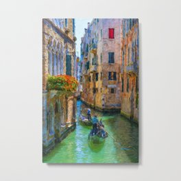 Classical picture of the venetian canals with gondola. Metal Print