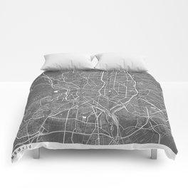 Madrid Spain Modern Map Art Print Comforters