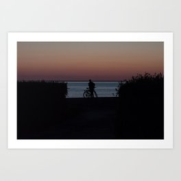 end of the long day. bicycle man. Art Print