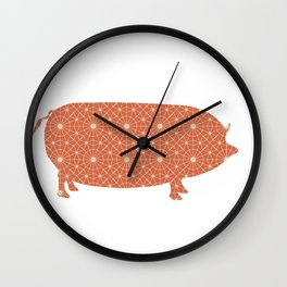PIG OINKY SILHOUETTE WITH PATTERN Wall Clock