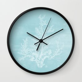 White Coral on Pale Blue Wall Clock