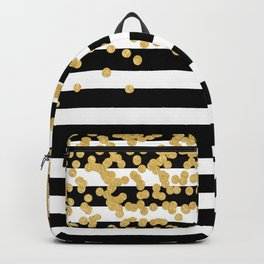 Bold Black Stripes With Gold Confetti Backpack