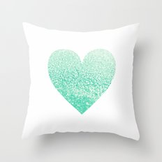 SEAFOAM HEART Throw Pillow
