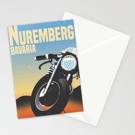 Nuremberg Bavaria Motorcycle travel poster Stationery Cards