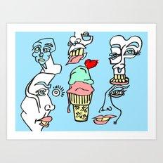 Ice Cream Dumb Heart Art Print