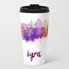 Agra skyline in watercolor Travel Mug