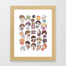 Studio Ghibli - Chibi Characters Framed Art Print