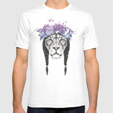 King of lions Mens Fitted Tee MEDIUM White