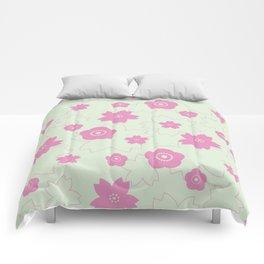 Sakura blossom - spring green Comforters