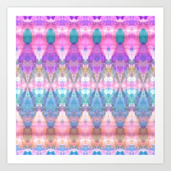 Tribal Diamonds Watercolour Pastel Pink Art Print