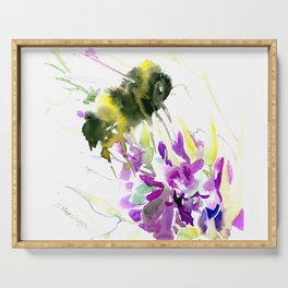 Bumblebee and Flowers floral bee design Serving Tray