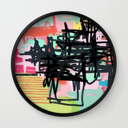 a little bit sour then sweet - abstract painting Wall Clock