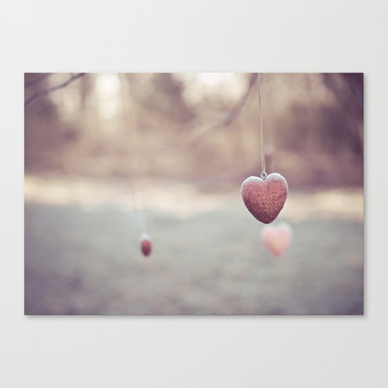 Frosted Hearts Canvas Print
