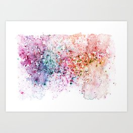 Purple Watercolour Rain Art Print