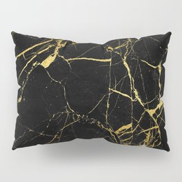 Black-Gold Marble Impress Pillow Sham