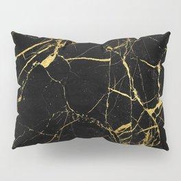 Black-Gold Marble Impress Pillow Sham