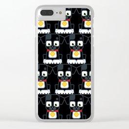 Super cute animals - Cute Black Puppy Dog Clear iPhone Case