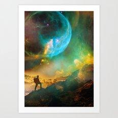 Vibrant Space Hiker Art Print