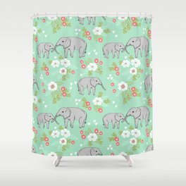 Elephants pattern mint blue with florals cute nursery baby animals lucky gifts Shower Curtain
