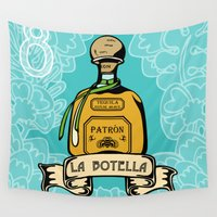 tequila Wall Tapestries featuring La Botella by Lala Vasquez