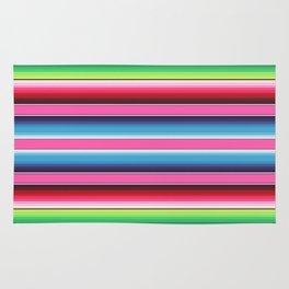 Pink Green Blue Mexican Serape Blanket Stripes Rug