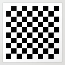 Checker Cross Squares Black & White Art Print