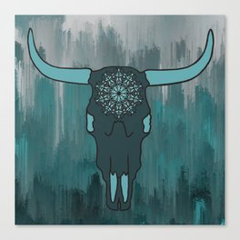 Steer Skull Mandala Canvas Print
