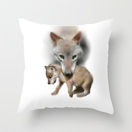 Wolf and Pup Throw Pillow