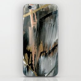 01025: a neutral abstract in gold, black, and white iPhone Skin