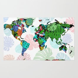 world map tropical leaves 2 Rug