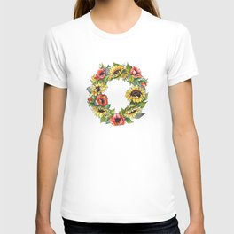 Sunflower Poppy wreath T-shirt