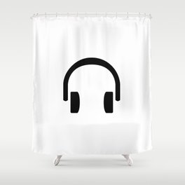 Music Lovers Headphones Monochrome Shower Curtain