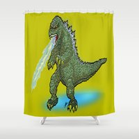 pacific rim Shower Curtains featuring King of the Monsters... GODZILLA!  This is the Kaiju the Jaegers of Pacific Rim SHOULD be Fighting! by beetoons