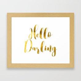 Hello Darling in Gold V1 Framed Art Print