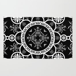 Scarab tile line pattern with black Background Rug
