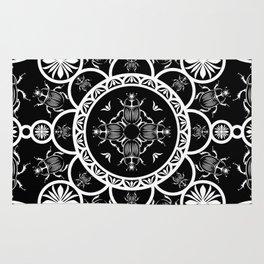 Scarab tile line pattern with black Background Rug