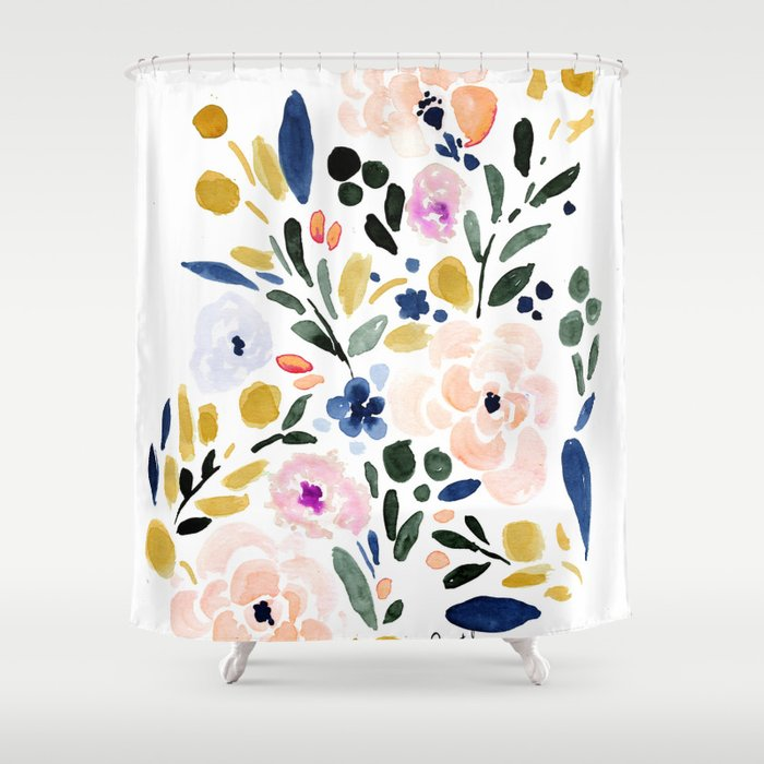 Sierra Floral Shower Curtain by crystalwalen | Society6