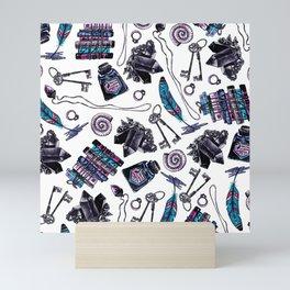 magical attributes, seamless print,  watercolor illustration Mini Art Print
