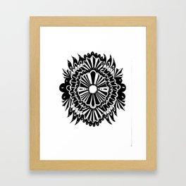 Black Lace Peony Framed Art Print