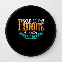 Sold is my favorite 4-letter Word Real estate Wall Clock