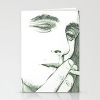 james franco Stationery Cards featuring Mr Franco by Troy Salmon Art
